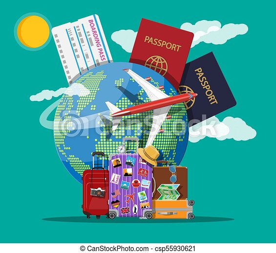 Travel Suitcase With Stickers And World Map