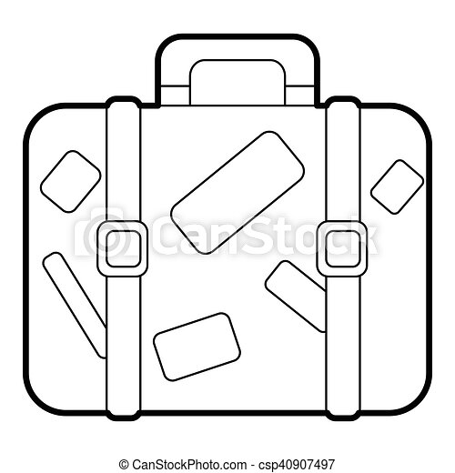 Travel suitcase with stickers icon, outline style