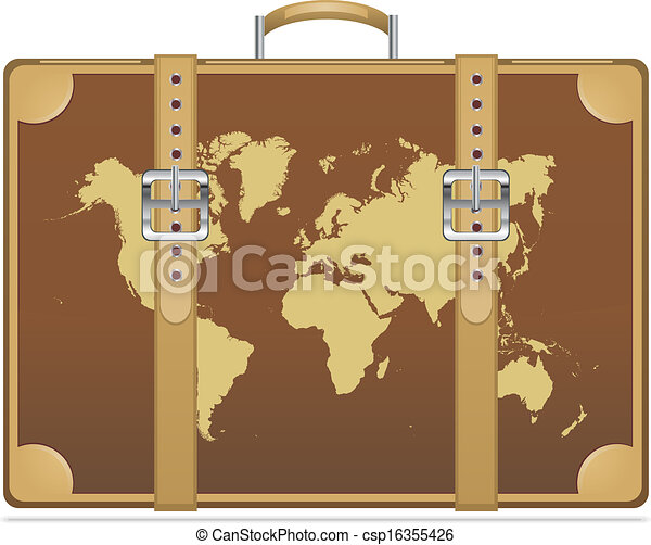 Travel suitcase with world map vector illustration eps 10 vector travel suitcase with world map csp16355426 gumiabroncs Image collections