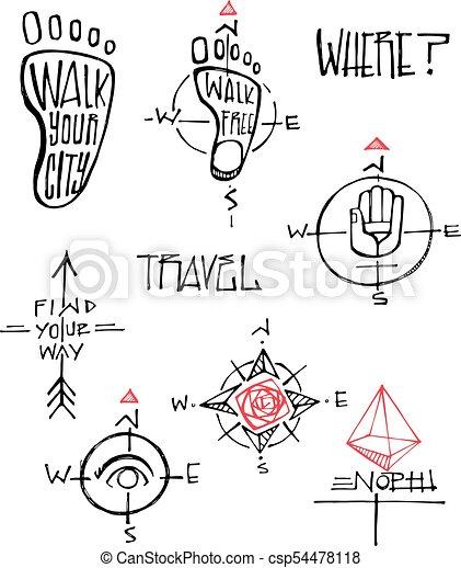travel symbols vector illustrations hand drawn vector ink