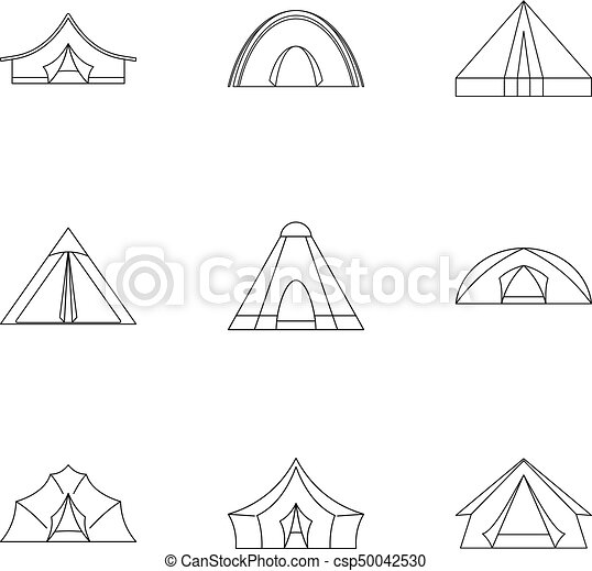 Travel tent form icon set, outline style