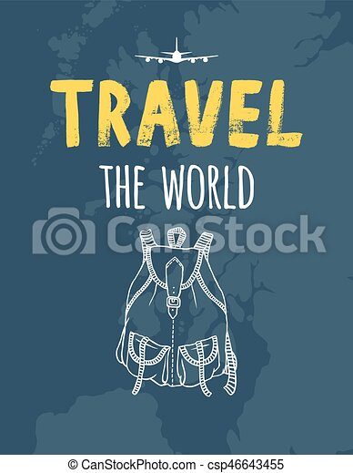 TRAVEL the world, map, airplane, backpack - csp46643455