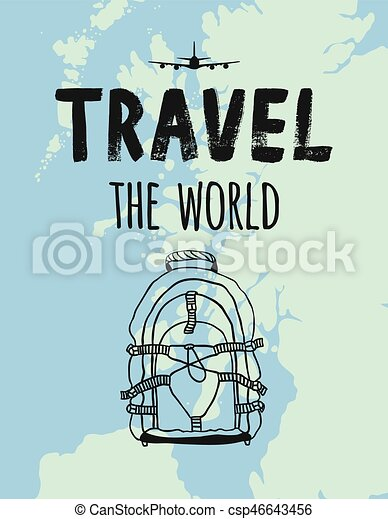 Travel the world map airplane backpack clipart vector search travel the world map airplane backpack csp46643456 gumiabroncs Images