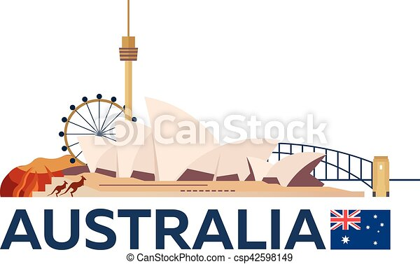 Travel to Australia, Sydney skyline. Vector illustration. - csp42598149