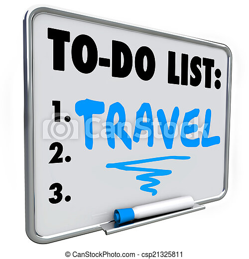 travel to do list dream vacation wish priorities word travel word