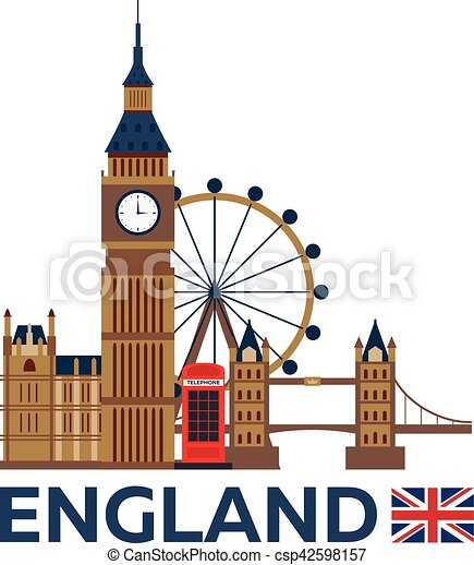 travel to england, london skyline. big ban. vector clipart vector