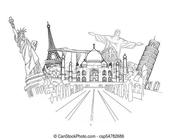 Travel to World Sketch - csp54782686