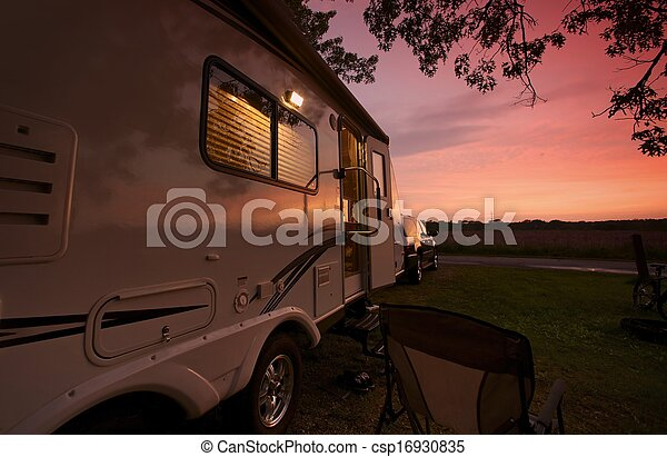 Travel Trailer in Sunset - csp16930835