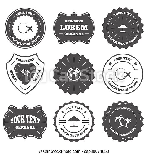 Vintage Emblems Labels Travel Trip Icon Airplane World Globe
