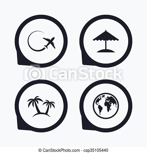 Travel Trip Icon Airplane World Globe Symbols Palm Tree And Beach