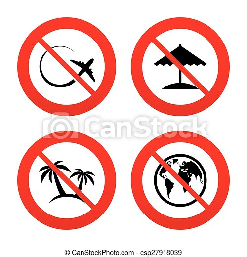 No Ban Or Stop Signs Travel Trip Icon Airplane World Globe
