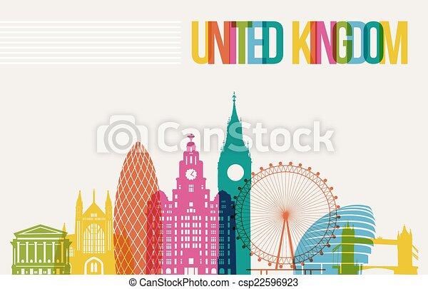 Travel United Kingdom destination landmarks skyline background - csp22596923