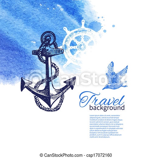 Travel vintage background. Sea nautical design. Hand drawn sketch and watercolor illustrations - csp17072160