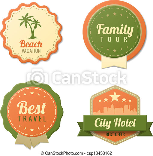 Travel vintage labels template collection. tourism stickers. Travel ...
