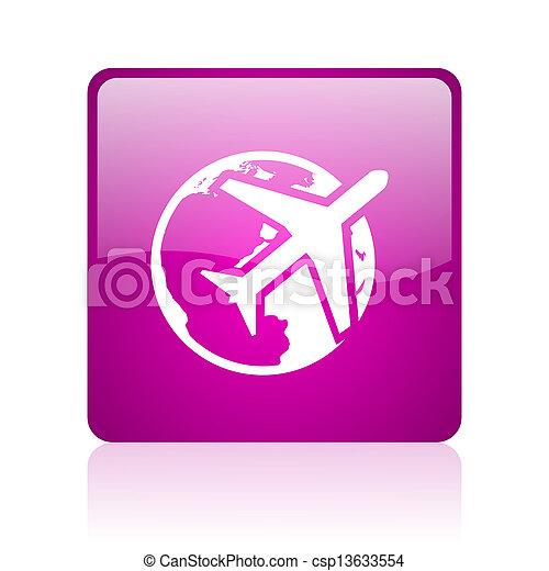 travel violet square web glossy icon - csp13633554