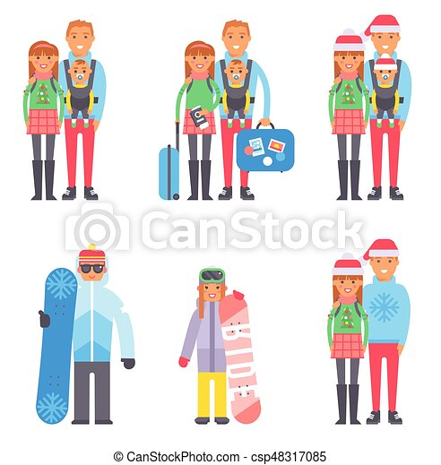 Travel Winter Vacation Time People Couples Vector Illustration