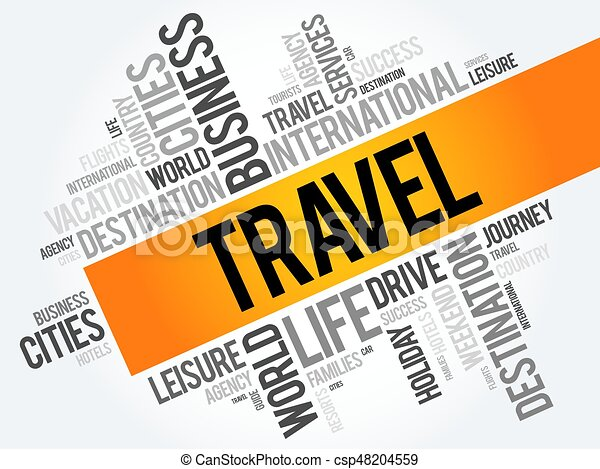 Travel word cloud collage - csp48204559
