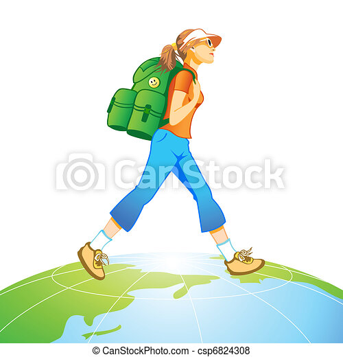 Travel World Traveling Tourist Girl With Backpack At The Top Of
