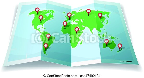 World Map Gps.Travel World Map With Gps Pins Illustration Of A Cartoon Simple