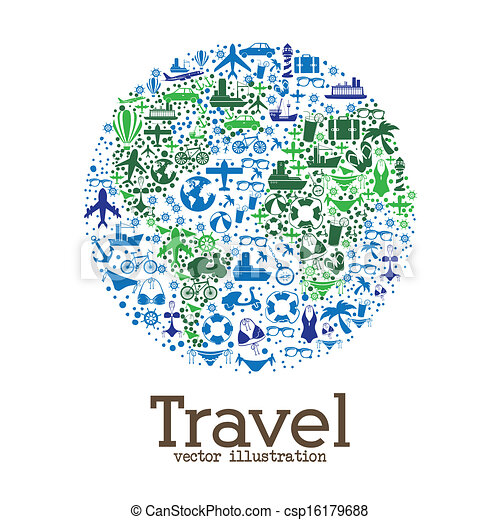Travel World Wide Over White Background Vector Illustration