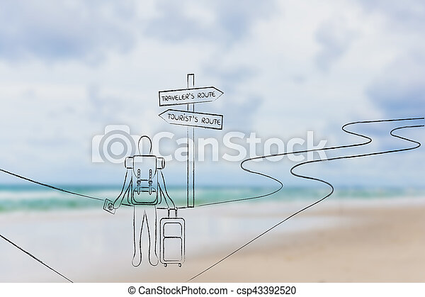 traveler or tourist: person with backpack and bag at crosspath - csp43392520