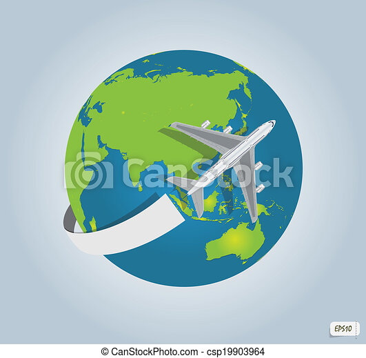 Traveling by a plane - csp19903964