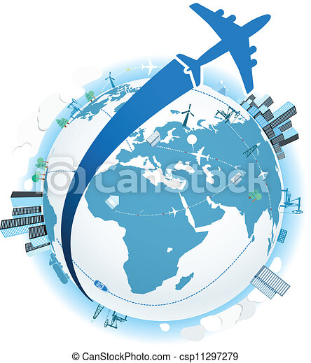 Traveling by a plane. Vector illustration - csp11297279