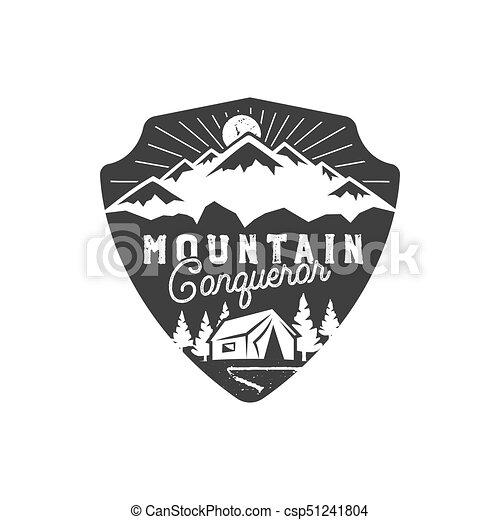 traveling outdoor badge mountain conqueror emblem vintage hand