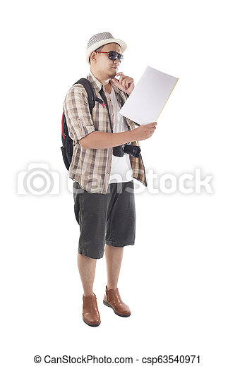 Traveling People Isolated on White. Male Backpacker Tourist Looking at Map - csp63540971
