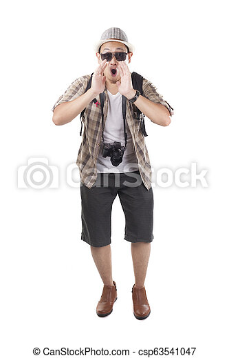 Traveling People Isolated on White. Male Backpacker Tourist Announcing Something - csp63541047