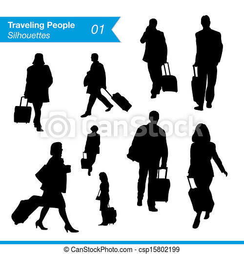 Traveling People Silhouettes Travel And Tourism