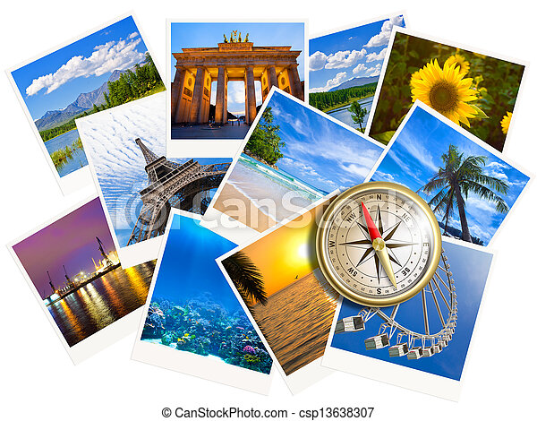 Traveling photos collage with gold compass isolated on white - csp13638307
