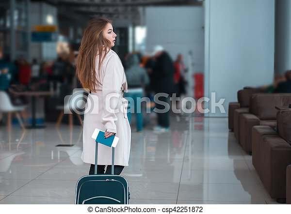 Traveller walking the airport hall. - csp42251872