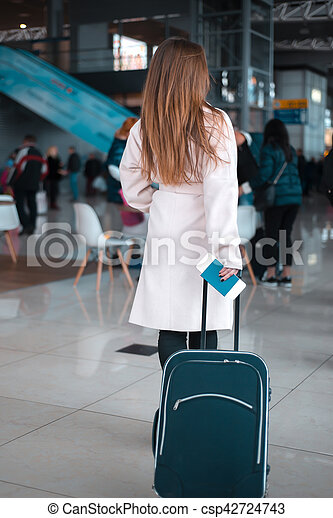 Traveller walking the airport hall. - csp42724743
