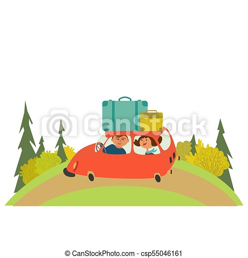 Travelling By Car Icon Young Happy Travellers Take A Trip Rent