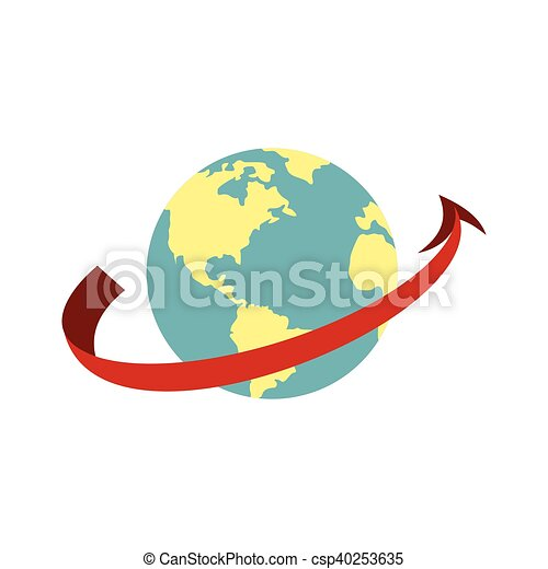 Travelling by plane around the world icon - csp40253635