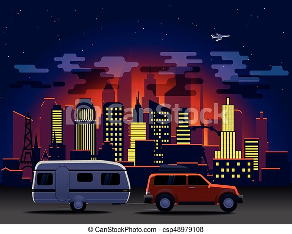 Travelling car in modern city with night illumination - csp48979108