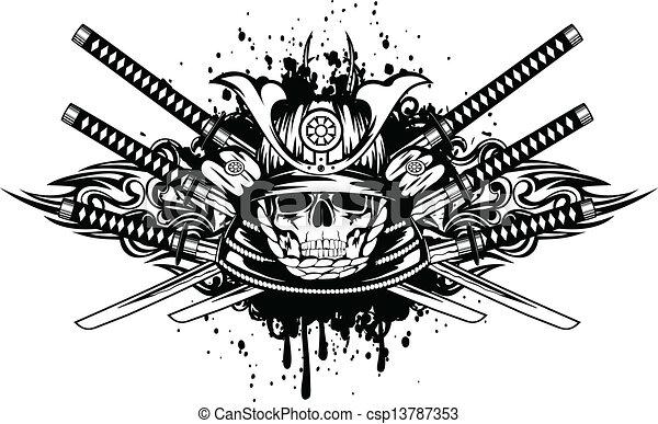 traversé, casque, épées, crâne, samouraï - csp13787353