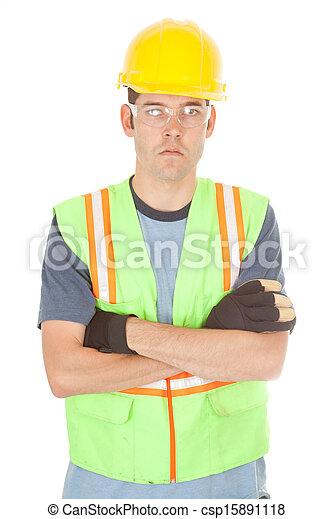 traversé, ouvrier construction, bras, sérieux - csp15891118