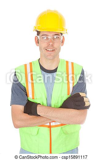 traversé, sourire, ouvrier construction, bras - csp15891117