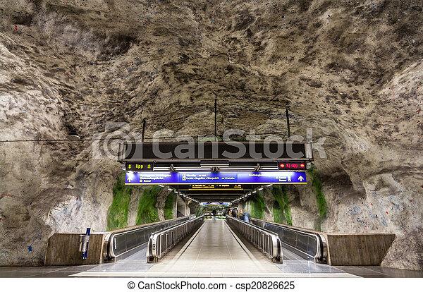 Travolators in Fridhemsplan metro station, Stockholm, Sweden - csp20826625