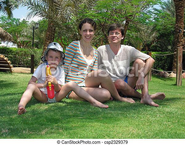 trawa, dłoń, rodzina - csp2329379