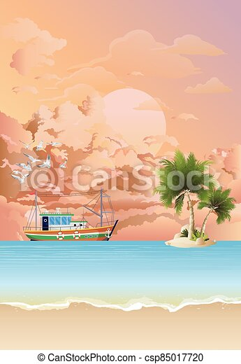 Trawler boat fishing at dawn - csp85017720