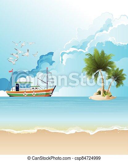 Trawler boat fishing - csp84724999