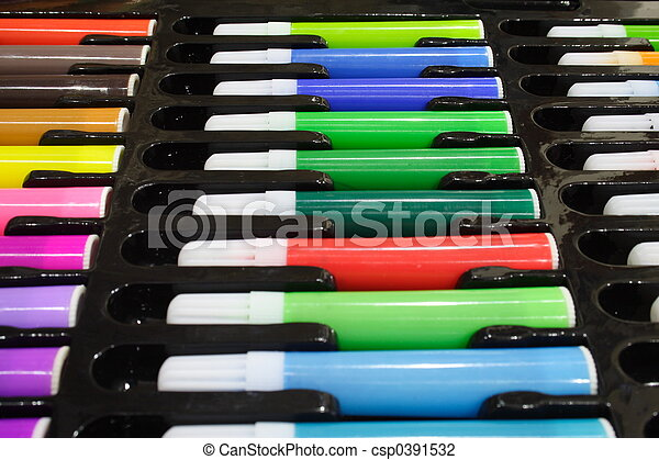Tray of Colored Pens - csp0391532