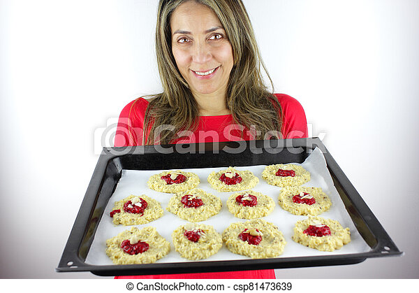 Tray of home made cookies - csp81473639