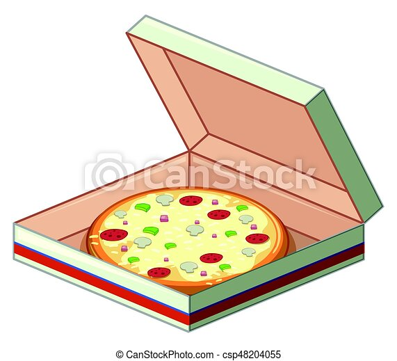 Tray of pizza in paper box - csp48204055