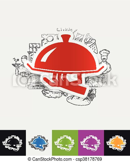 tray paper sticker with hand drawn elements - csp38178769