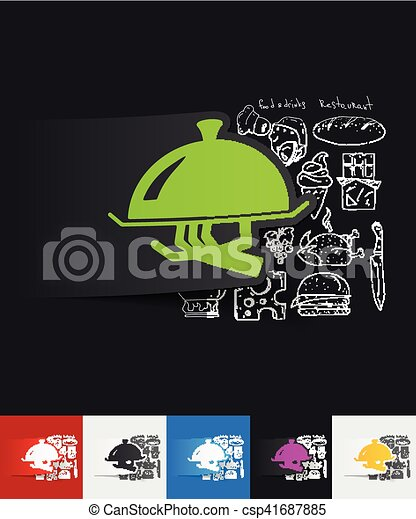 tray paper sticker with hand drawn elements - csp41687885