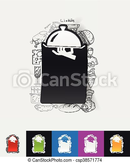 tray paper sticker with hand drawn elements - csp38571774